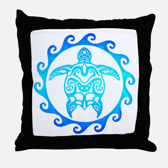 Blue Tribal Turtle Sun Throw Pillow