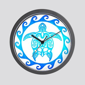 Blue Tribal Turtle Sun Wall Clock