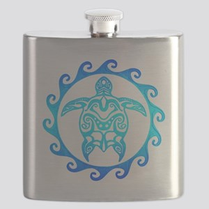 Blue Tribal Turtle Sun Flask