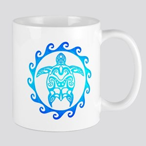 Blue Tribal Turtle Sun Mugs