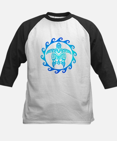 Blue Tribal Turtle Sun Baseball Jersey