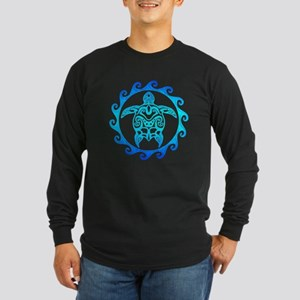 Blue Tribal Turtle Sun Long Sleeve T-Shirt