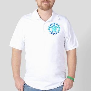 Blue Tribal Turtle Sun Golf Shirt