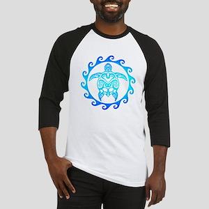 Blue Tribal Turtle Sun Baseball Jersey