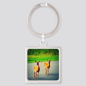 Two Watchful Deer in the Smoky Mountains Keychains