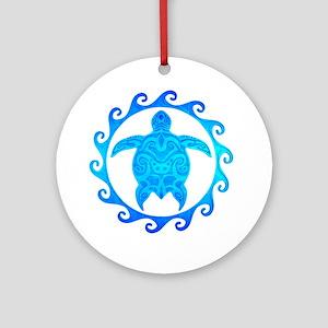 Ocean Blue Turtle Sun Ornament (Round)