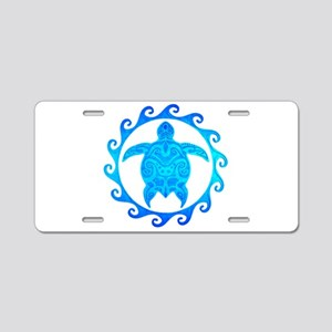 Ocean Blue Turtle Sun Aluminum License Plate