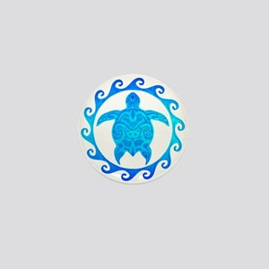 Ocean Blue Turtle Sun Mini Button