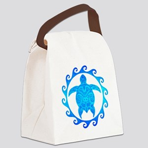 Ocean Blue Turtle Sun Canvas Lunch Bag