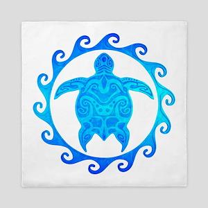 Ocean Blue Turtle Sun Queen Duvet