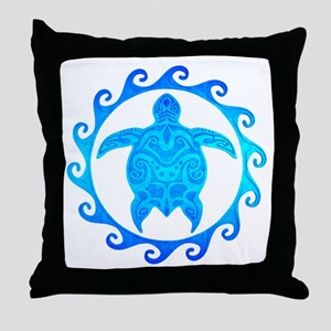 Ocean Blue Turtle Sun Throw Pillow
