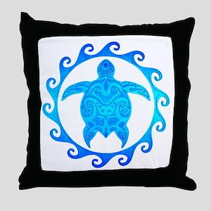 Ocean Blue Turtle Sun Throw Pillow