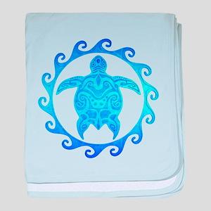 Ocean Blue Turtle Sun baby blanket