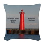 Muskegon South Pierhead Woven Throw Pillow