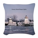 Grassy Island Range Lights Woven Throw Pillow