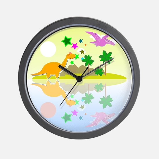Cute Tropical Island Dinos Wall Clock