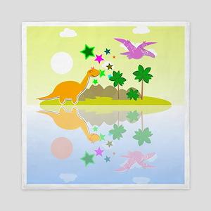 Cute Tropical Island Dinos Queen Duvet
