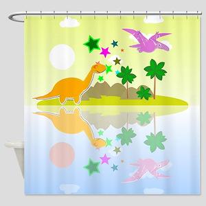 Cute Tropical Island Dinos Shower Curtain