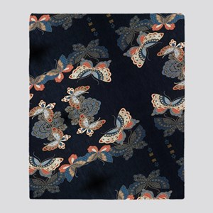 butterfly japanese textile Throw Blanket