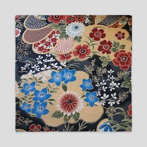 floral japanese textile Queen Duvet