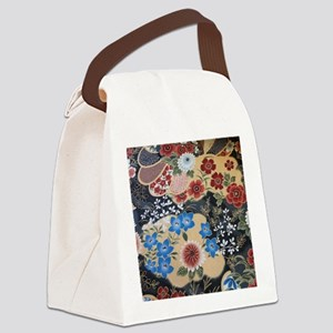 floral japanese textile Canvas Lunch Bag