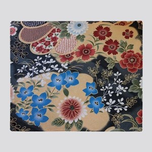 floral japanese textile Throw Blanket