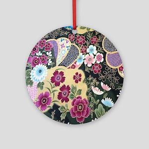 floral japanese textile Round Ornament