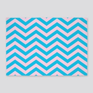 Pink and Blue Chevrons 2 5'x7'Area Rug