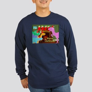 Cute Dinosaurs Fireplace Long Sleeve T-Shirt