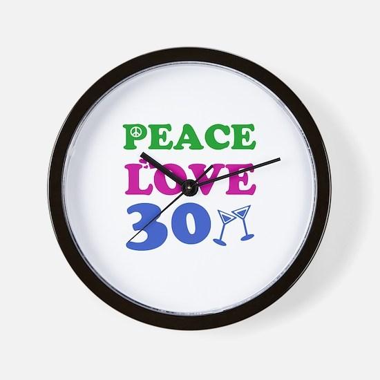 Peace Love 30 Wall Clock