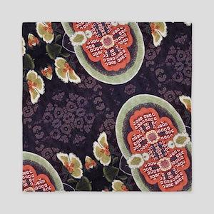 floral patten japanese textile Queen Duvet