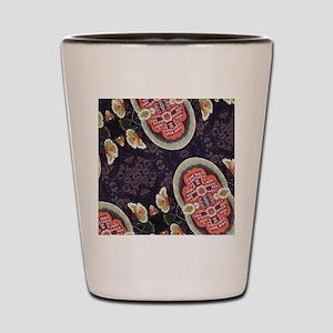 floral patten japanese textile Shot Glass