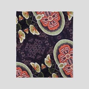 floral patten japanese textile Throw Blanket