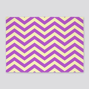 Purple and Yellow Chevrons 2 5'x7'Area Rug