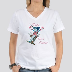 Fight like a marlin Women's V-Neck T-Shirt