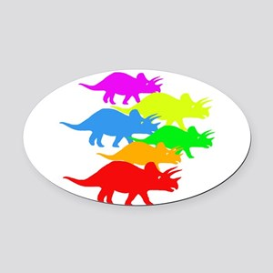Triceratops Family Oval Car Magnet