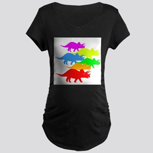 Triceratops Family Maternity Dark T-Shirt