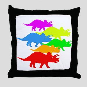 Triceratops Family Throw Pillow