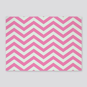Pink and Mint Chevrons 2 5'x7'Area Rug