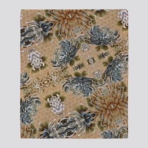 floral patten japanese textile Throw Blanket