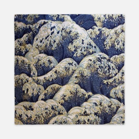 japanese ocean waves landscape Queen Duvet
