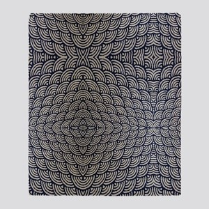 japanese ocean waves pattern Throw Blanket