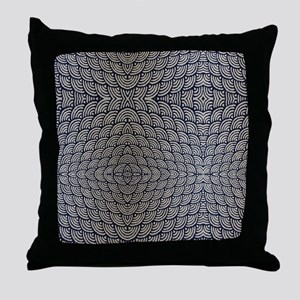 japanese ocean waves pattern Throw Pillow