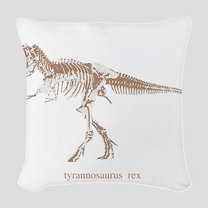 t rex skeleton Woven Throw Pillow