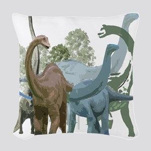 The Sauropods Woven Throw Pillow