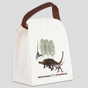 Velociraptor vs. Akylosaurus Canvas Lunch Bag
