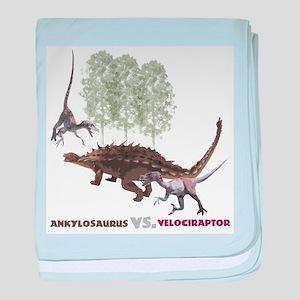 Velociraptor vs. Akylosaurus baby blanket
