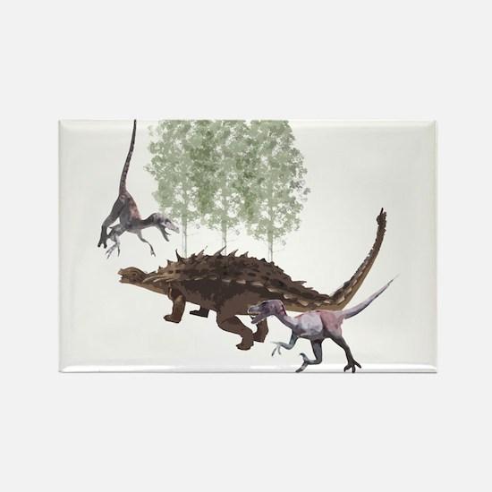 Velociraptor vs. Akylosaurus Rectangle Magnet