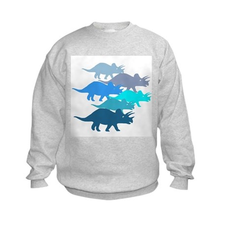 Blue Triceratops Family Kids Sweatshirt