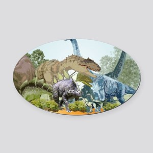 jurassic Oval Car Magnet